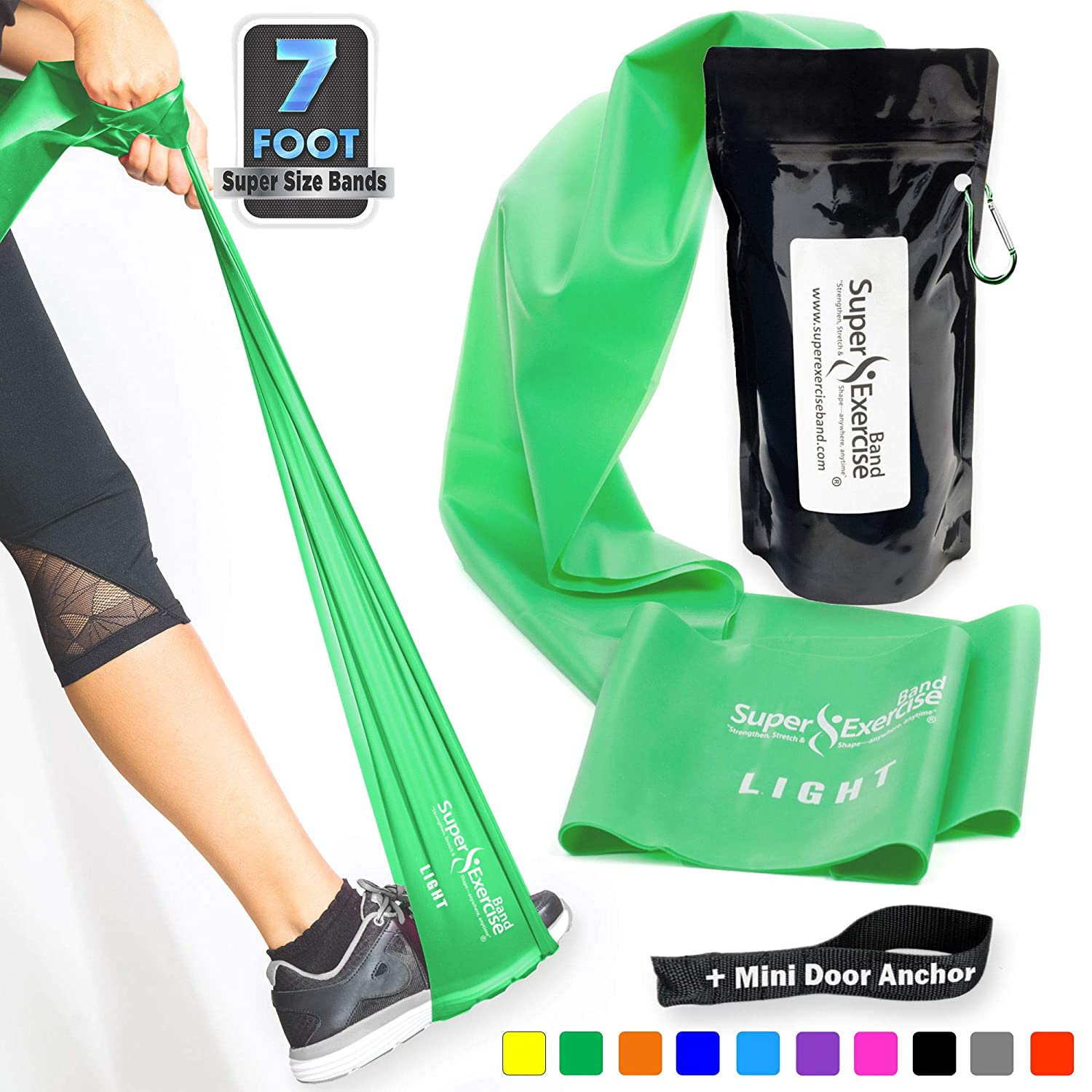 Super Exercise Band 7 ft. Long Latex Free Resistance Bands and Mini Door Anchor. Home Gym Fitness for Strength Training, Physical Therapy, Yoga, Pilates, Chair Workouts. Choose Light, Medium or Heavy.