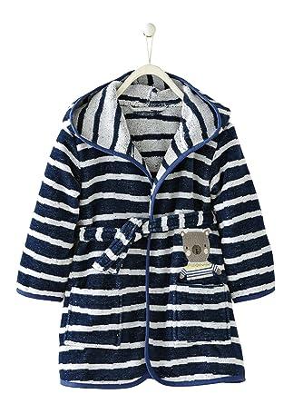0526ea183eacc Vertbaudet Peignoir Enfant avec Capuche Bleu imprimé Rayures 24M - 86CM
