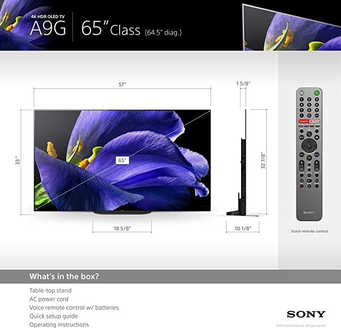 2020 Sony XBR-65A9G 65 3840 x 2160 Bravia 4K Ultra High Definition Smart OLED TV with an Additional 4 Year Coverage by Epic Protect