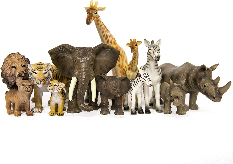 SANDBAR TOYS Safari Animals Set ( 12 Piece ) - Wild Animals, Baby Animals, Zoo Animals, Jungle Animals, and African Animals - Educational Child Development Toy - Kids, Toddlers, Children Toy Figures
