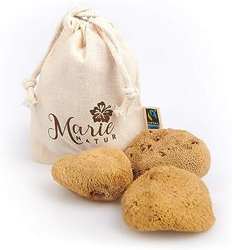 MARIE NATUR Esponja menstrual – Incluye práctica bolsa higiénica de algodón orgánico – 100% natural, reutilizable, orgánico, sostenible, sin plástico, ...
