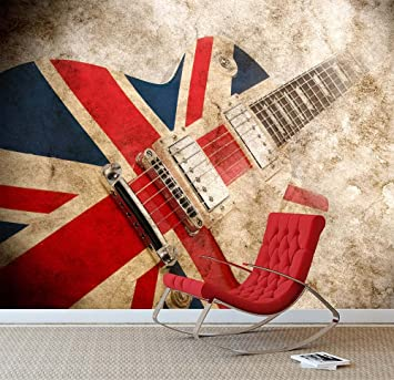 WALL ART DESIRE Vintage Union Jack Guitarra Pared Mural Foto Papel Pintado Londres Bandera de Reino Unido, XX Large 3000mm x 2400mm: Amazon.es: Hogar