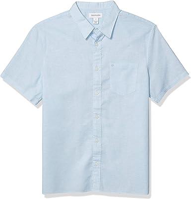 Calvin Klein Camisa de manga corta ligera de algodón y lino con botones para hombre - - Large: Amazon.es: Ropa y accesorios