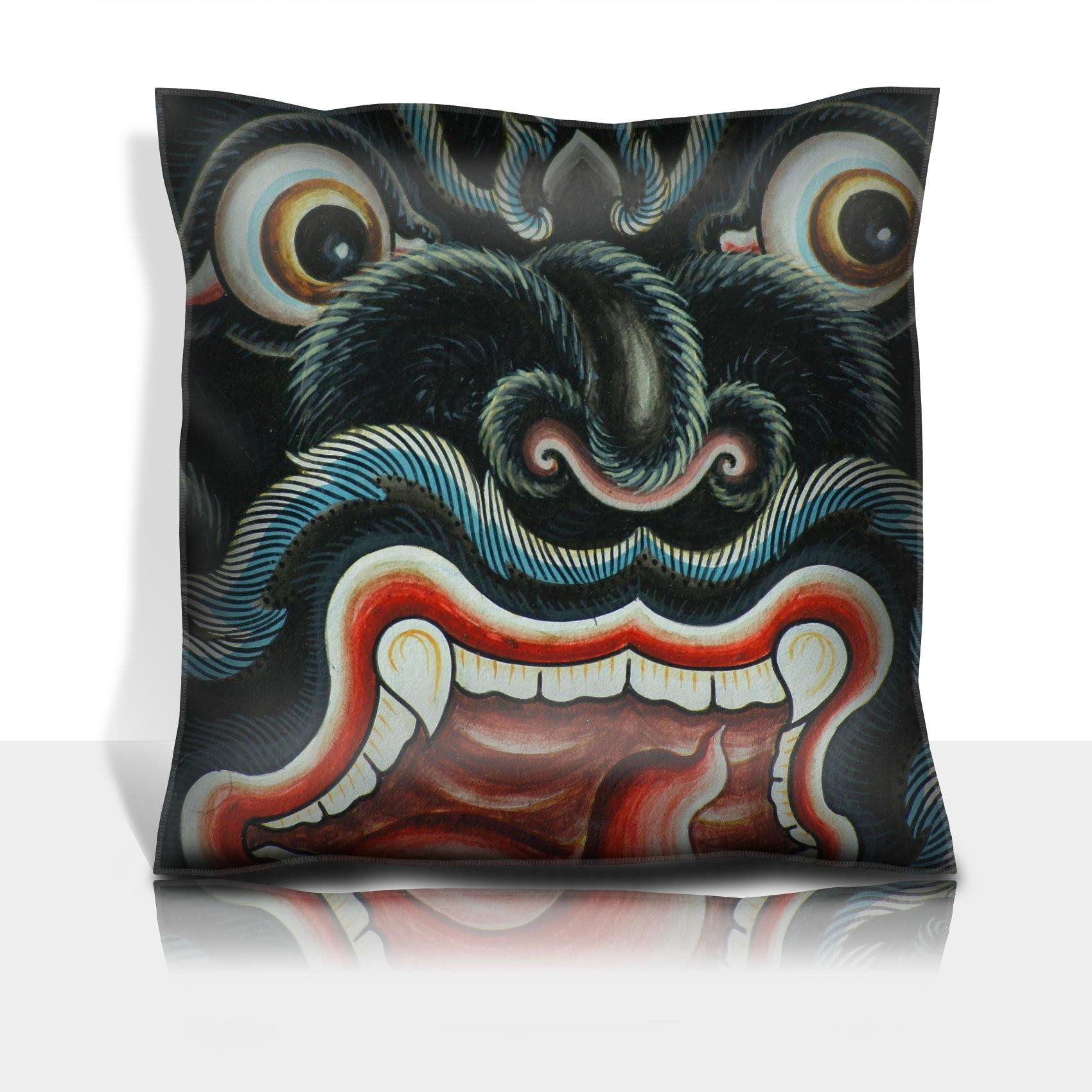 MSD Throw Pillowcase Polyester Satin Comfortable Decorative Soft Pillow Covers Protector sofa 16x16, 1pack IMAGE ID: 14461565 Monkey head Thai art painted on wall in Buddhist temple Bangkok Thai
