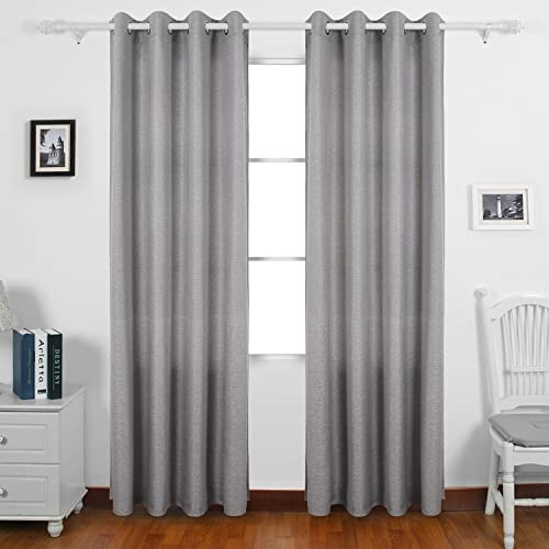 Deconovo Faux Linen Grommet Drapes Window Panels Pair Thermal Curtains for Living Room, 52 x 95 Inch, Light Grey