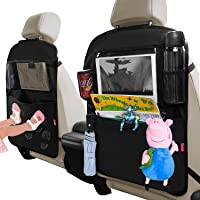 """Dotala Kick Mats with Car Backseat Organizer,XL Storage Pocket - 2 Pack with Clear 11""""Tablet Holder - Premium XL…"""