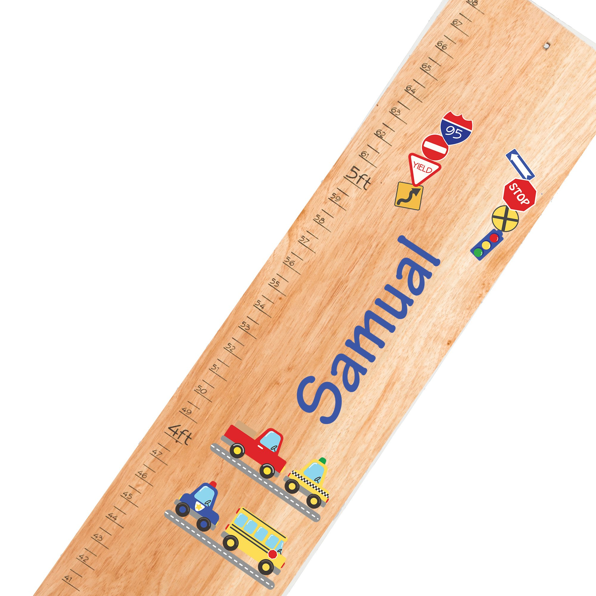 Personalized natural Cars & Trucks childrens wooden growth chart