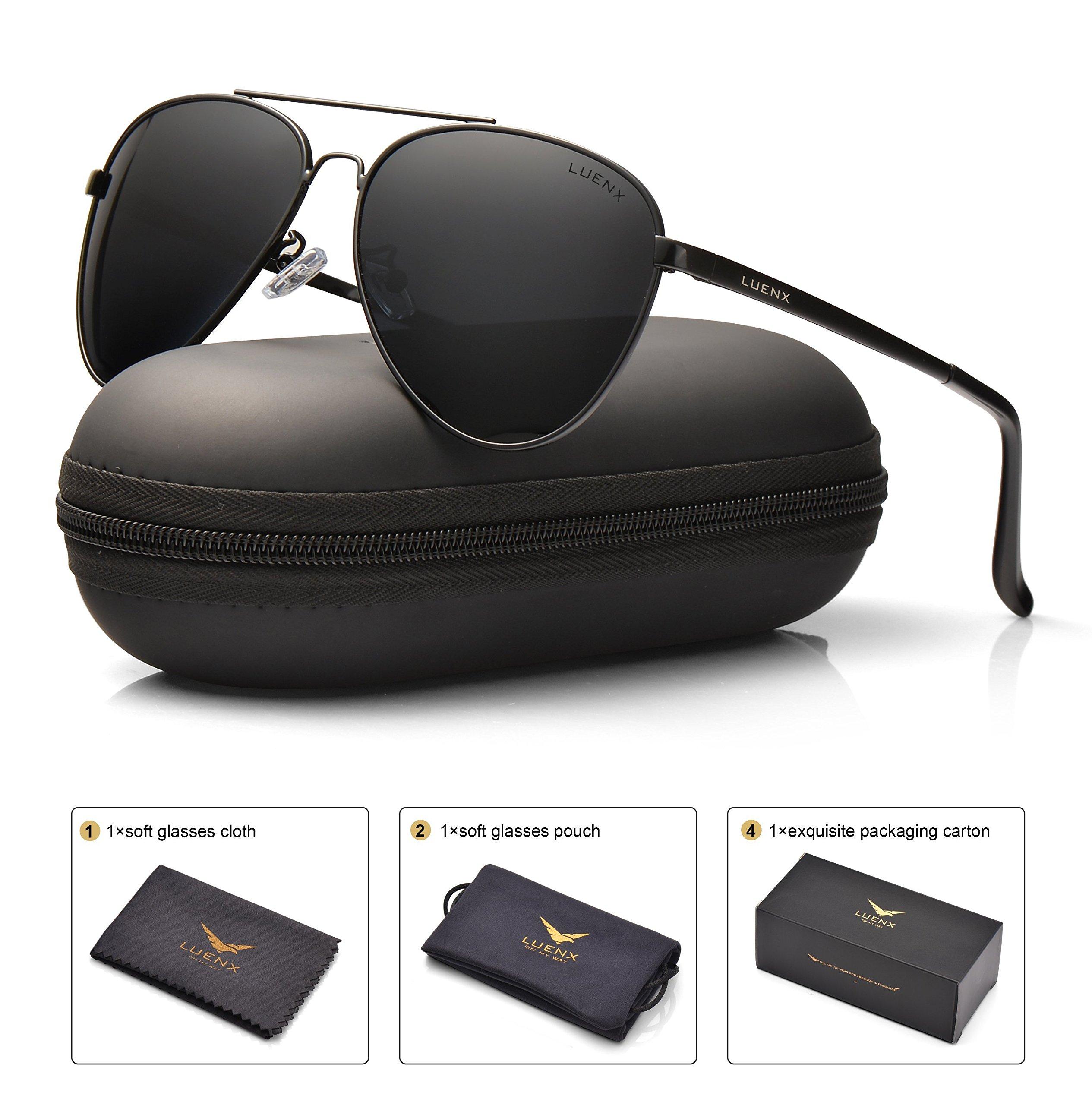 LUENX Men Women Aviator Sunglasses Polarized Non-Mirror Black Lens Black Metal Frame with Accessories UV 400 Protection 60MM