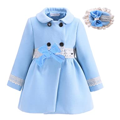 Lajinirr Niñas Winter Abrigos moda prendas de vestir exteriores azul chaqueta con diadema: Amazon.es: Ropa y accesorios
