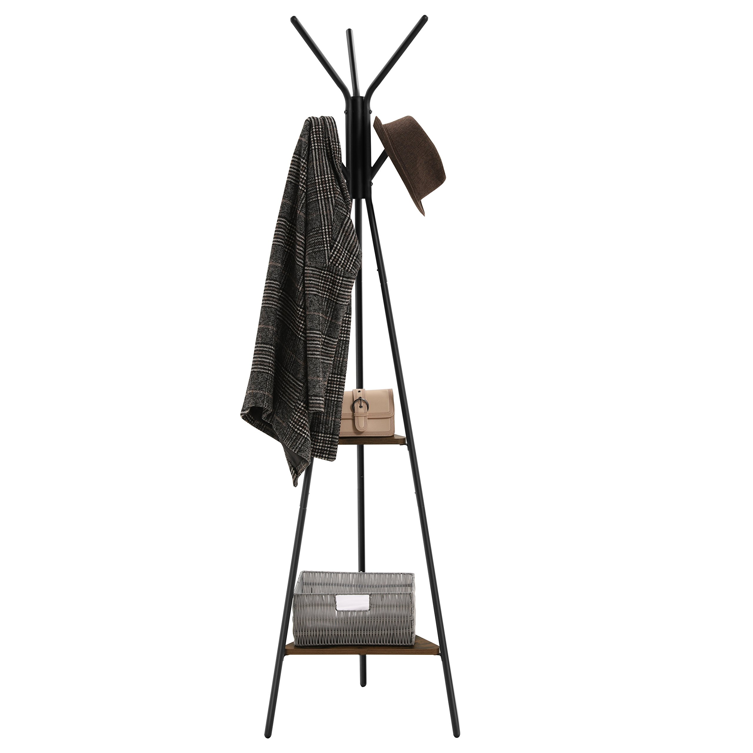 SONGMICS Coat Rack Stand, Coat Tree, Hall Tree Free Standing, Industrial Style, with 2 Shelves, for Clothes, Hat, Bag, Black, Vintage, URCR16BX by SONGMICS (Image #3)