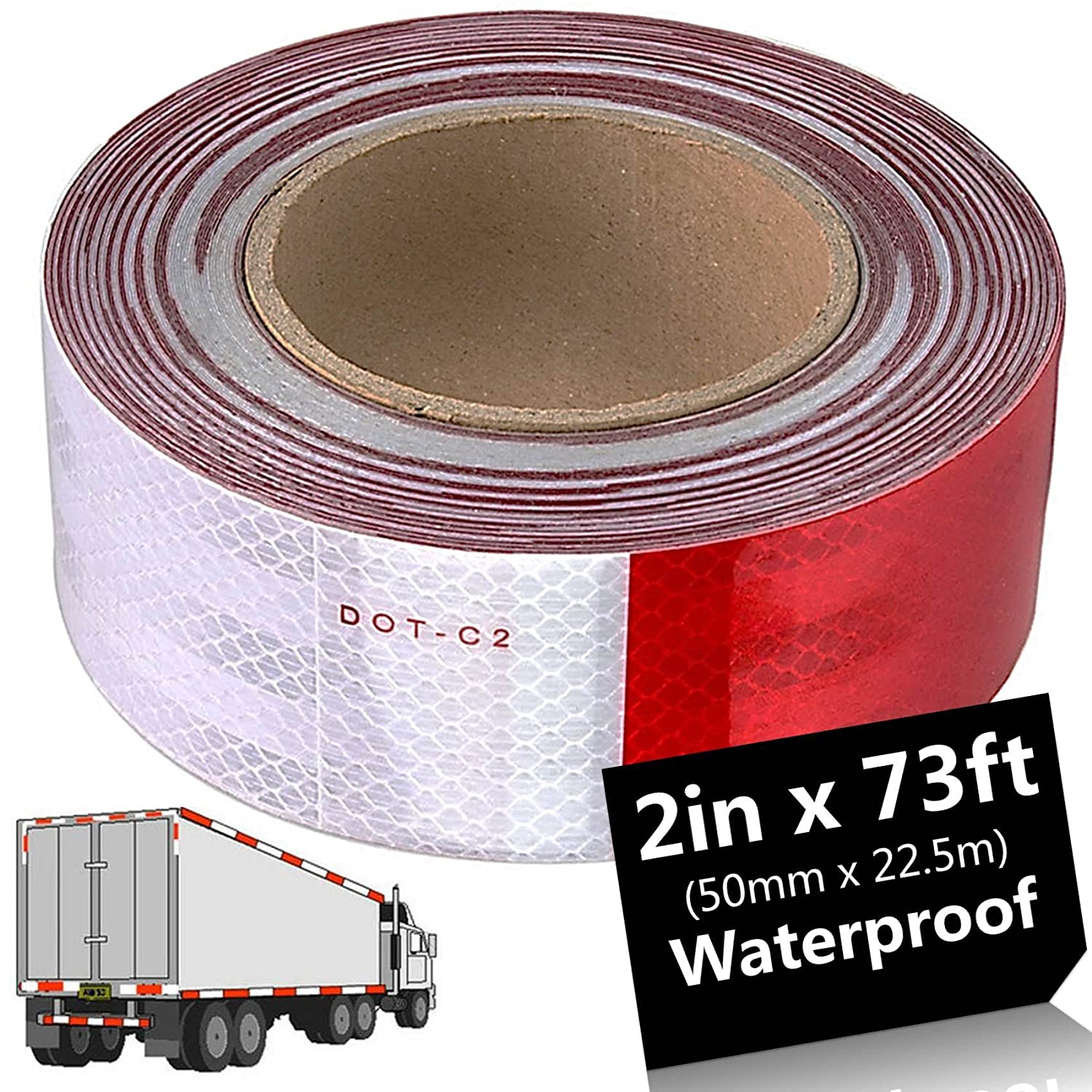Acrux7 Reflective Tape For Trailers, DOT-C2 Retroreflective Sheeting Pattern: Alternating White and Red Color Segments, 50mm x 73ft, Waterproof Adhesive, For Truck, Garage Door, Parking Lot, Driveway
