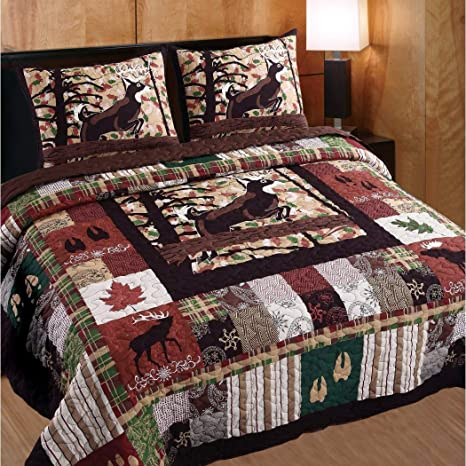 Queen Size Bedding Quilt Set Lodge Cabin Country Farmhouse Plaid Pattern 3 Piece