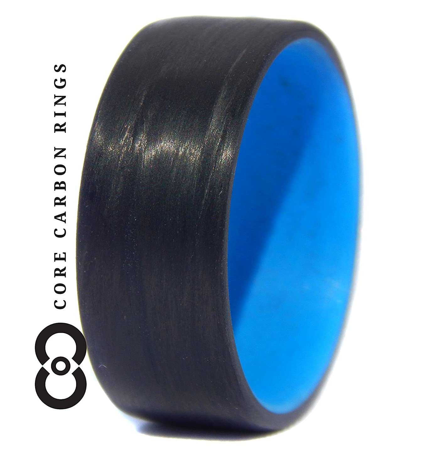 Carbon Fiber Unidirectional Ring with blue inside