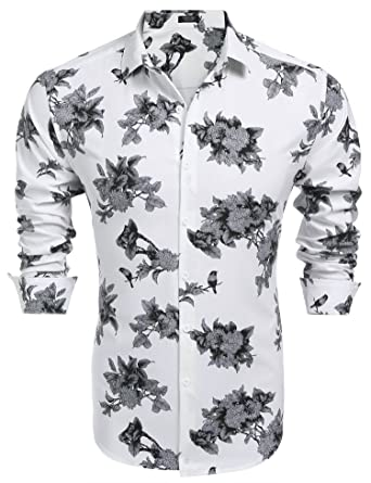 dc4b6a68c7a2 Simbama Men's Casual Floral Print Long Sleeve Slim Fit Cotton Button ...