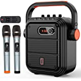 JYX Karaoke Machine with Two Wireless Microphones, Portable Bluetooth Speaker with Shoulder Strap, HD Sound PA System Support