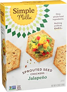product image for Simple Mills Jalapeno Gluten Free Sprouted Seed Crackers with Chia Seeds, Hemp Seeds, Sunflower Seeds, Flax Seeds, and Sunflower Oil, Made with whole foods, (Packaging May Vary)