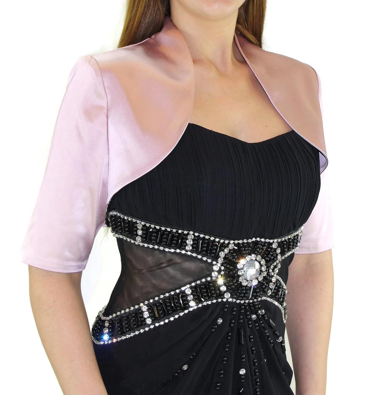 #991 Damen Luxus Satin Bolero Halbarm Kurzarm 36 38 40 42 44 46 48 50 52 54 56 Rosa