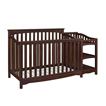 Baby Relax Bailey Convertible Crib With Side Changing Table Set With Wood  In Espresso Finish,