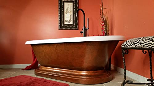 Acrylic 70 Inch Double Ended Copper Pedestal Tub