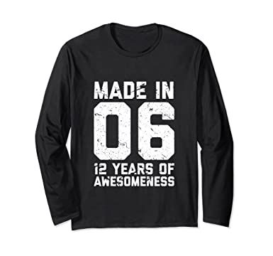Unisex 12th Birthday Long Sleeve Shirt Girl Boy Gift 12 Year Old Small Black