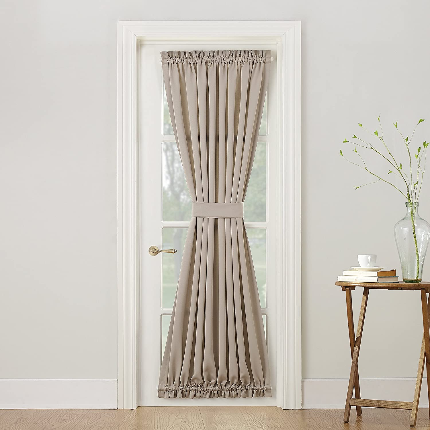 "Sun Zero Barrow Energy Efficient Door Panel Curtain with Tie Back, 54"" x 72"", Stone"