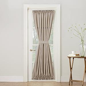 "Sun Zero Barrow Energy Efficient Door Panel Curtain with Tie Back, 54"" x 72"", Stone"
