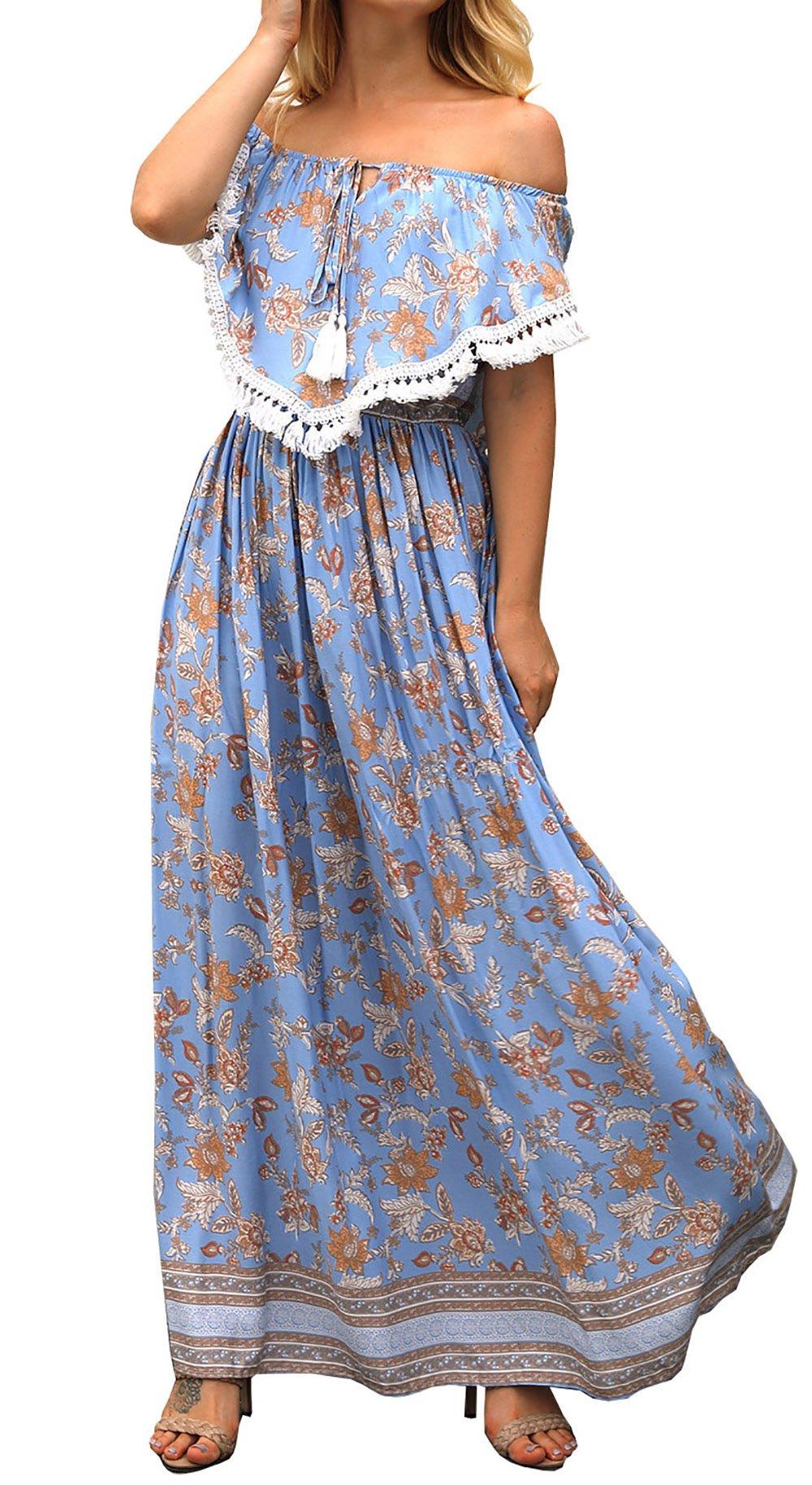 FOUR CLOUR Women's Boho Off Shoulder Short Sleeve Floral Print Casual Ruffle Long Maxi Dress
