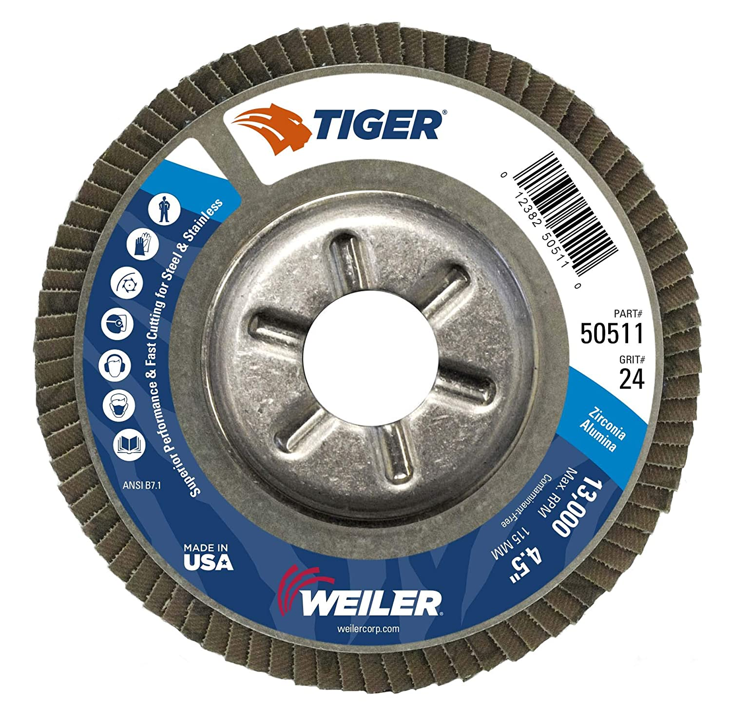 Zirconia Alumina Threaded Hole Pack of 1 Weiler Tiger Abrasive Flap Disc 60 Grit Aluminum Backing 7 Dia. Type 29