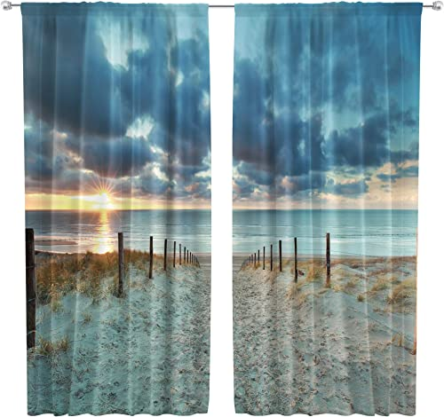 Riyidecor Ocean Beach Scenic Curtains Scenery Landscape Rod Pocket Art Blue Sky North Brown Sundown Seaside Sand Printed Living Room Bedroom Window Drapes Treatment Fabric 2 Panels 42 x 63 Inch
