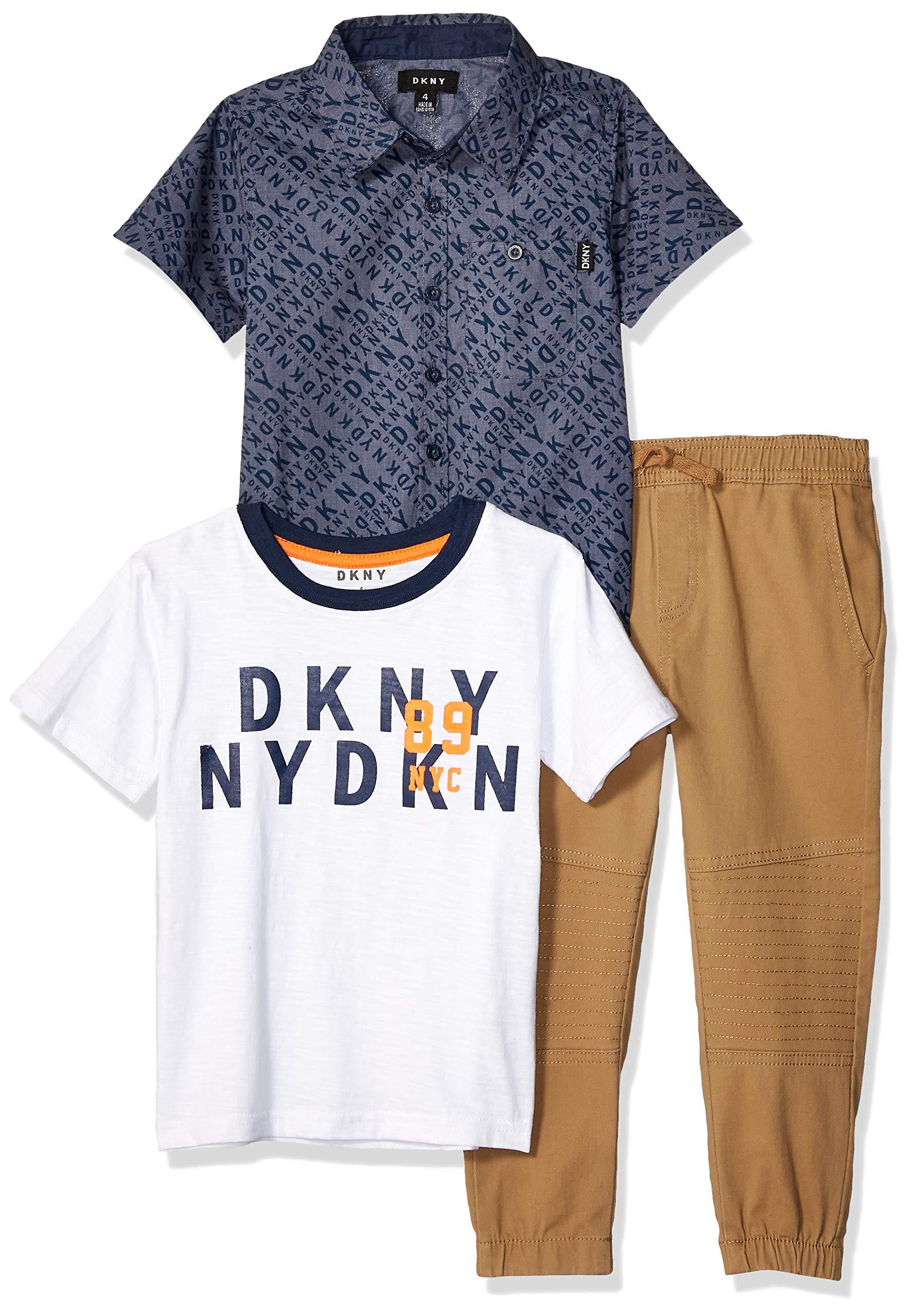 DKNY Boys' Little Short Sleeve Woven, T-Shirt, and Pull-On Pant, Logo kelp, 5
