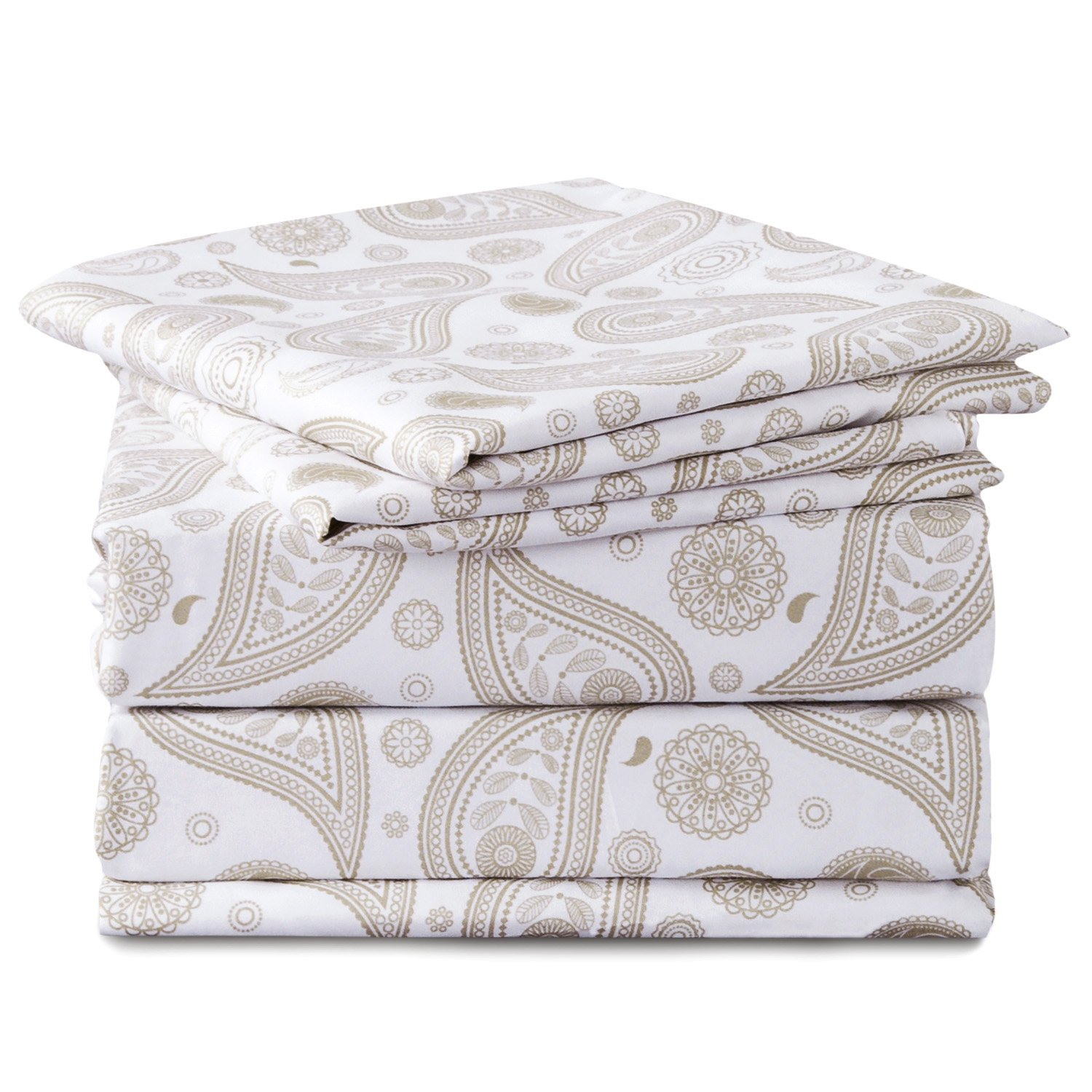 Bedsure Paisley Fitted Sheet Set Double Size 135x190cm White/Beige 3 Pieces Printed Bedding Floral Sheets with 2 Pillowcases Bedshe