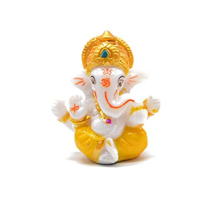 IKraft Lord Ganesha Statues Ganesh Ganpati Beautiful Car Dashboard Idol Figurine Showpiece Sculpture Hindu Good Luck