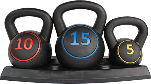 Rakon 3pce Kettlebell Weight Set with Stand for Cross Training, MMA Training, Home Exercise - 5, 10 15lbs 2.2kg, 4.5kg 6.8 kg