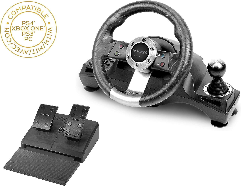 Subsonic - Volante de carreras Drive Pro Sport con pedales, paletas y palanca de cambios (PS4 Slim/Pro, Xbox One S/X, PS3, Windows)