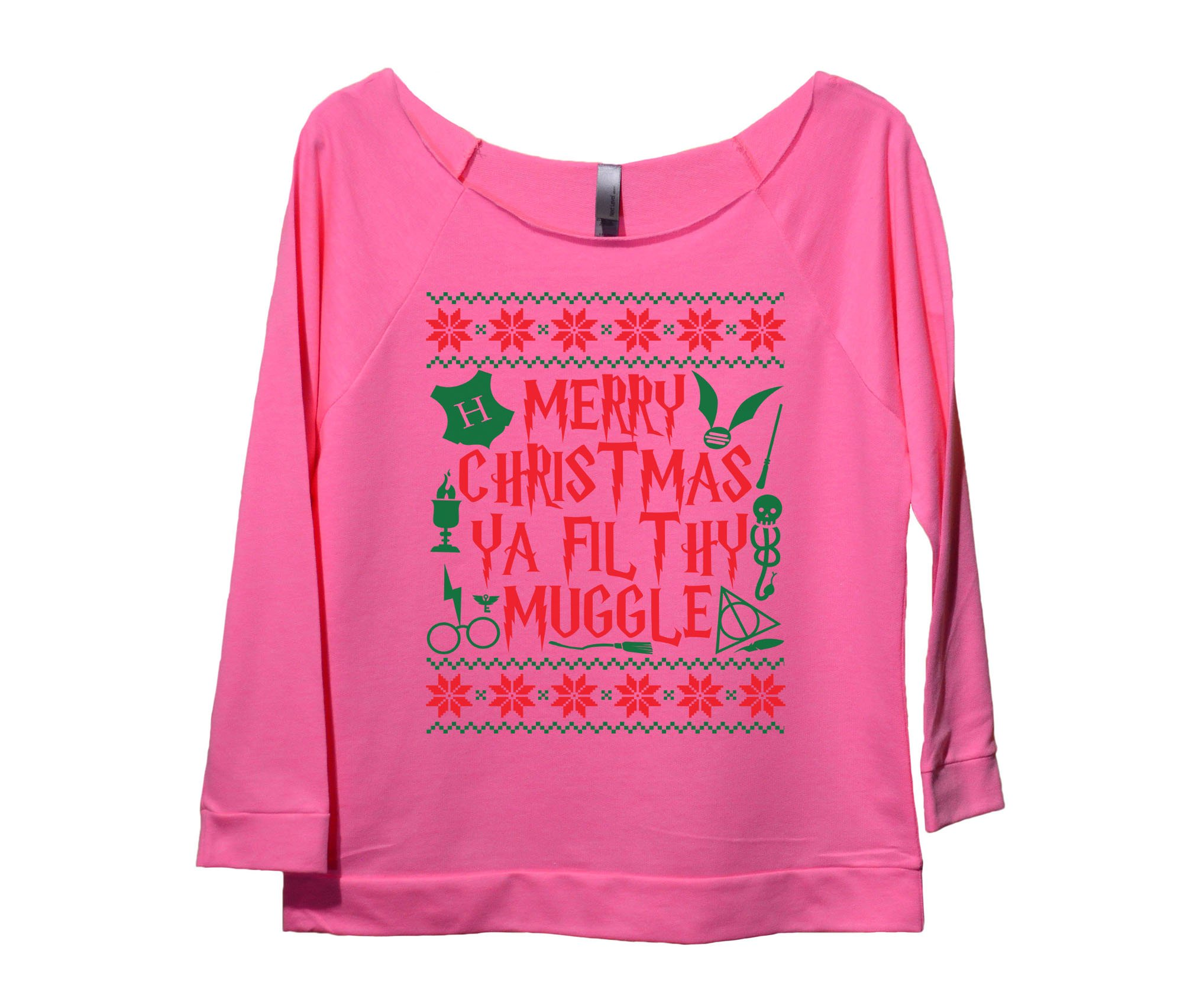 womens raw edge harry potter christmas sweat shirt 34 sleeve merry christmas ya filthy muggle funny threadz medium pink