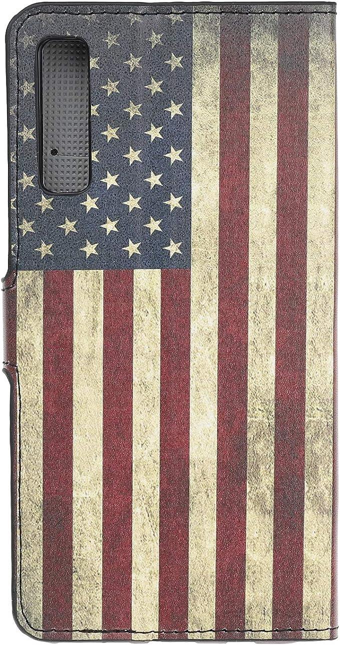 leiai Galaxy A50 Flip Coque,Fermeture Magn/étique PU Cuir Housse /Étui Cover Case Mince /à Rabat Couverture Portefeuille with Card Slots Cover avec Porte-Carte Stand pour Samsung Galaxy A50 USA Flag