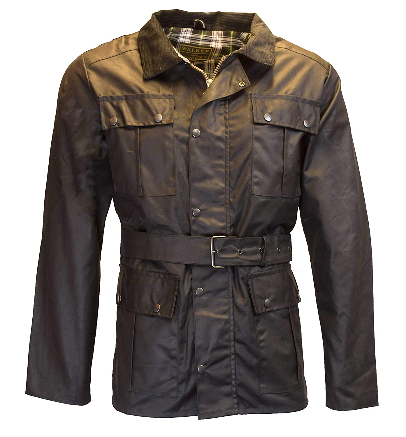 Men's Vintage Style Coats and Jackets Walker and Hawkes Mens Belted Wax 4 Pocket Motorcycle Waterproof Jacket $101.92 AT vintagedancer.com