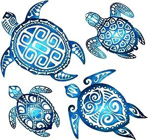 4 Pieces Sea Turtle Bathroom Wall Decorations Sea Turtle Ocean Voyage Wall Sign Sea Turtle Beach Theme Wooden Plaque Sea Turtle Farmhouse Rustic Wall Decorations for Home Wall Bathroom Decor Blue