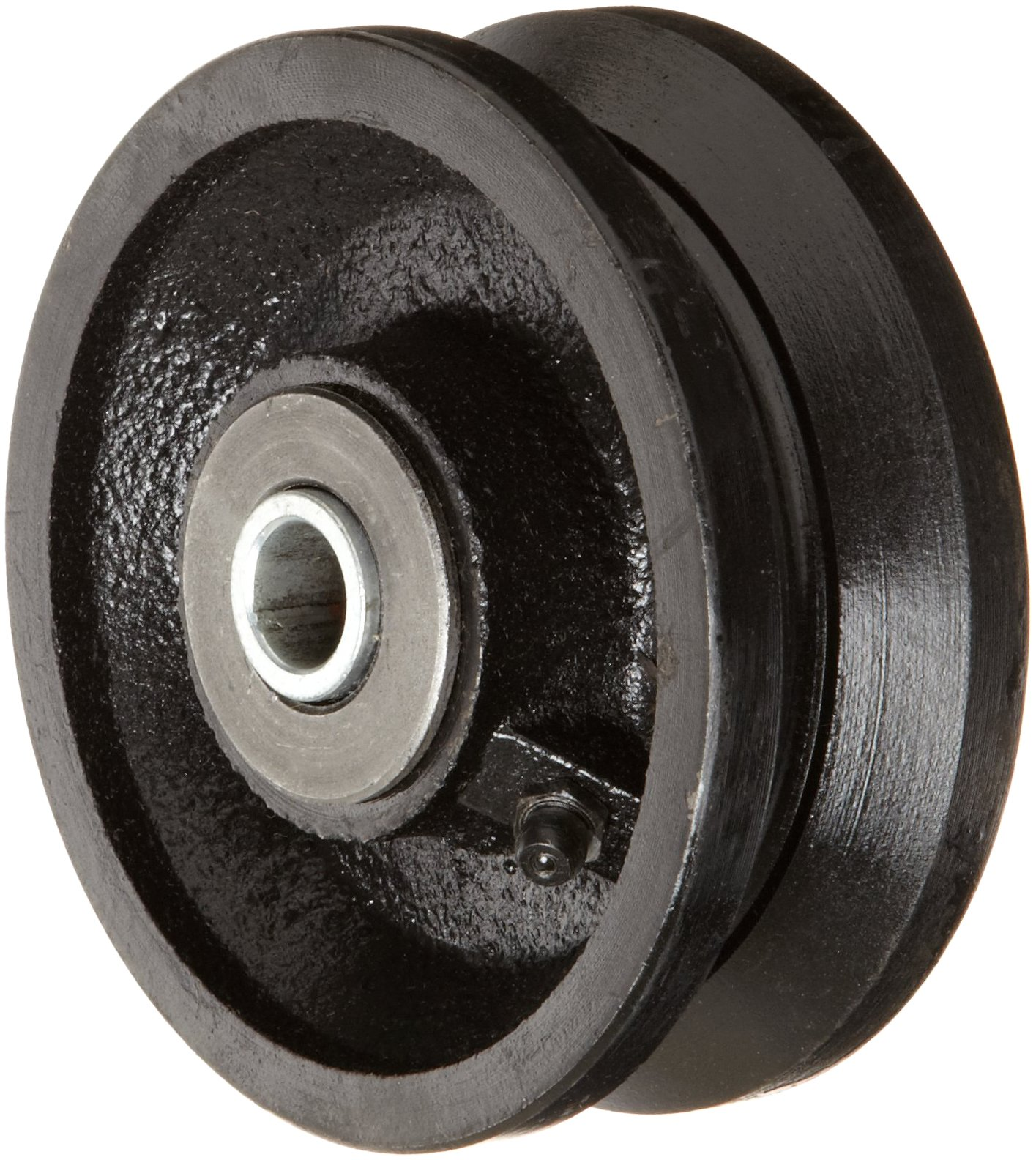 RWM Casters VIR-0415-08 4'' Diameter X 1-1/2'' Width Cast Iron V-Groove Wheel with Straight Roller Bearing, 700 lbs Capacity