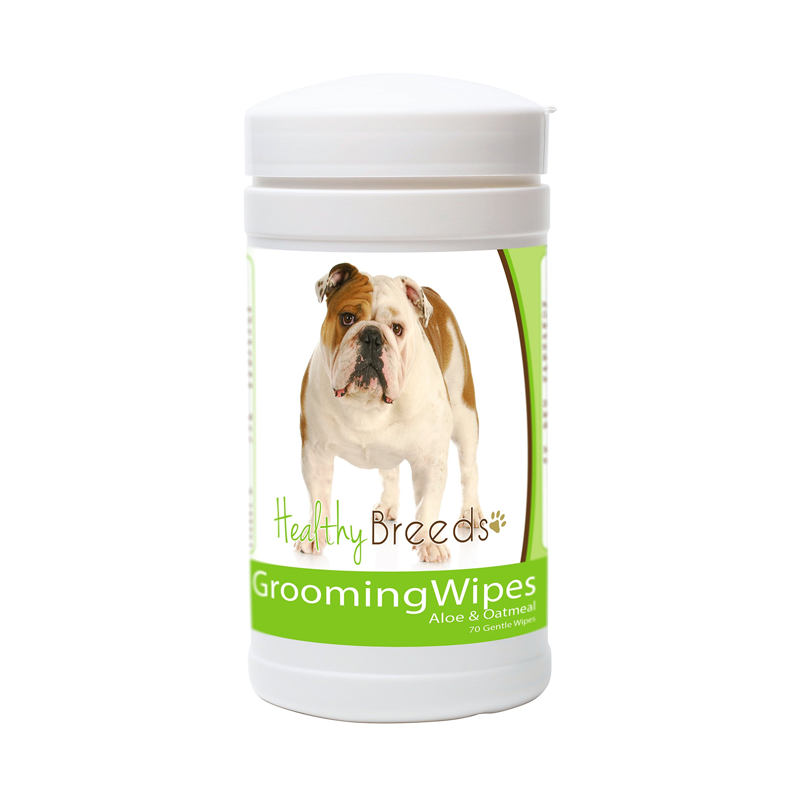 Healthy Breeds Dog Multi-Purpose Grooming & Deodorizing Wipes for Bulldog - OVER 200 BREEDS - Cleans Paw Pads Skin Folds Armpits Face Butt - 70 Count - Aloe & Oatmeal for Sensitive Skin