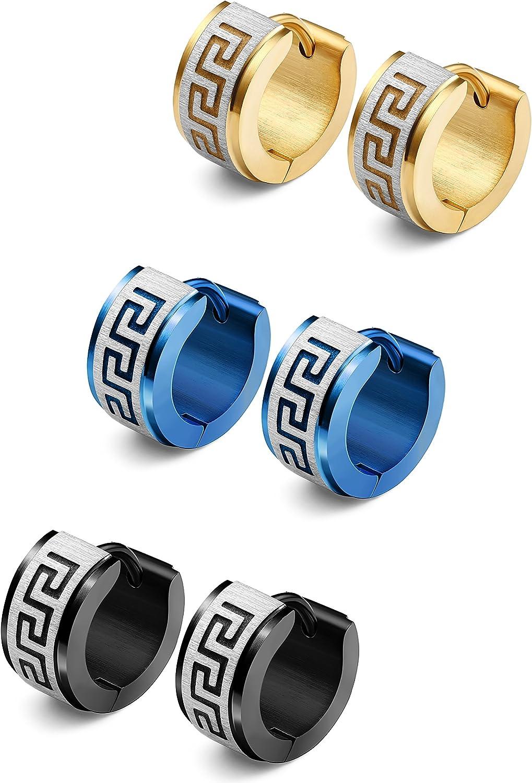 Jstyle Jewelry Stainless Steel Hoop Earrings for Men Women Huggie Earrings Unique Greek Key 3 Pairs Blue