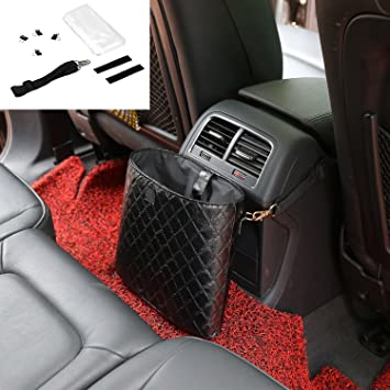 Leak Proof Car Trash Bag Box//Garbage Can Hanging or UEOTO Car Rubbish Bin Black
