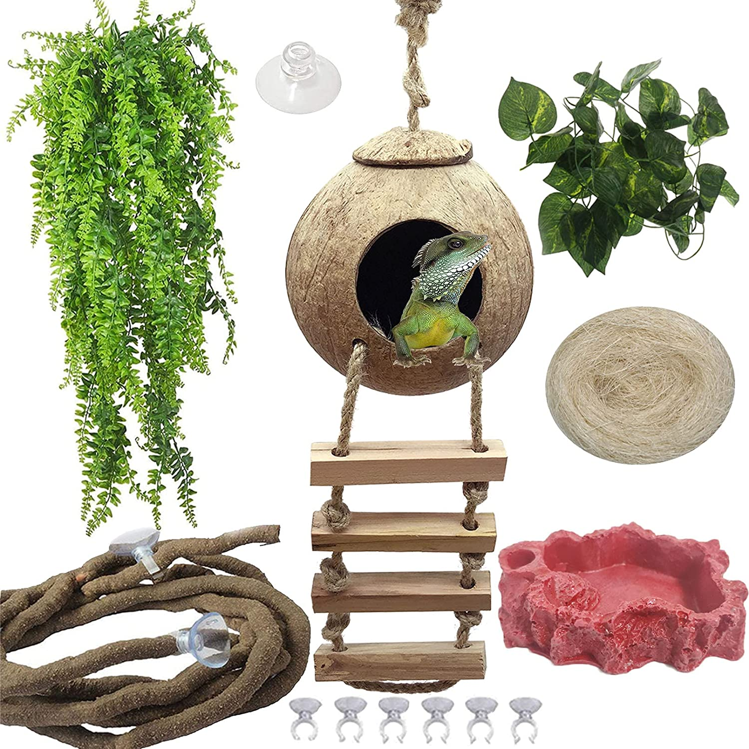 Hamiledyi Crested Gecko Coco Hut Natural Reptile Coconut Hideouts Lizard Water Food Bowls Climbing Porch Hiding Sleeping Breeding Pad Jungle Vine Flexible Reptile Leaves for Bearded Dragon 6PCS