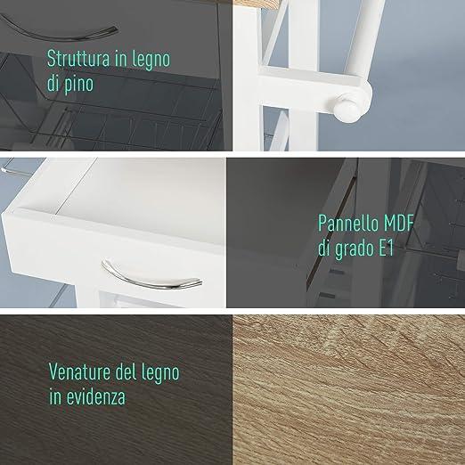 2 Portaspezie 3 Cestelli 92x37x82cm HOMCOM Carrello da Cucina Salvaspazio in Legno MDF Bianco: 3 Cassetti 2 Ripianie e 4 Ruote