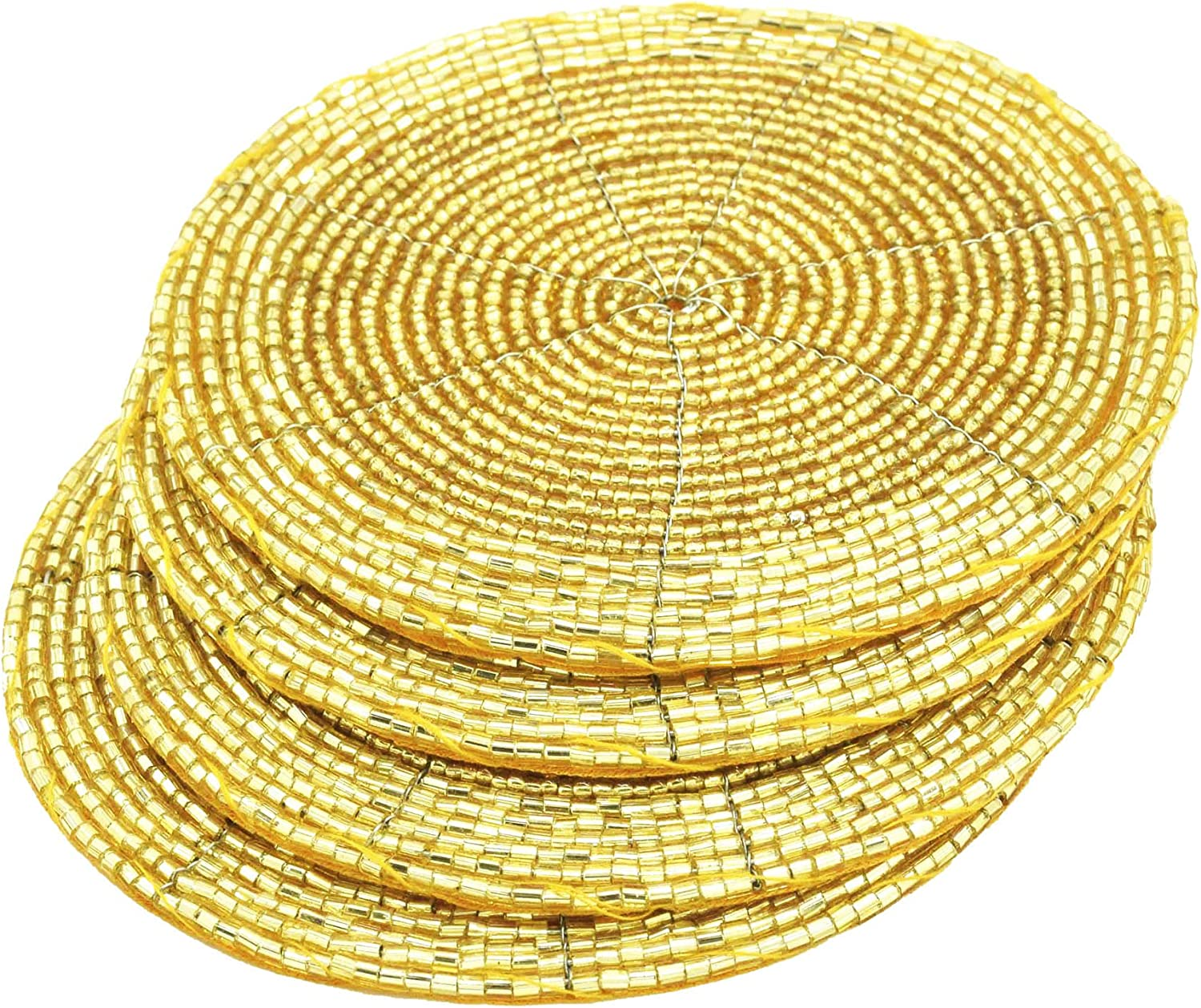 "Terraacraft Shimmering Indian Handmade Beaded Coasters -4"" Round-Set of 4 Gold Coasters, Dining Table Accessories, Decorative Home Decor"