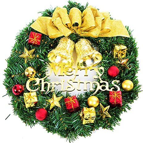 large christmas wreath christmas decorations ornament artificial christmas wreath garland with bow knot bell ball christmas - How To Decorate Artificial Christmas Wreath