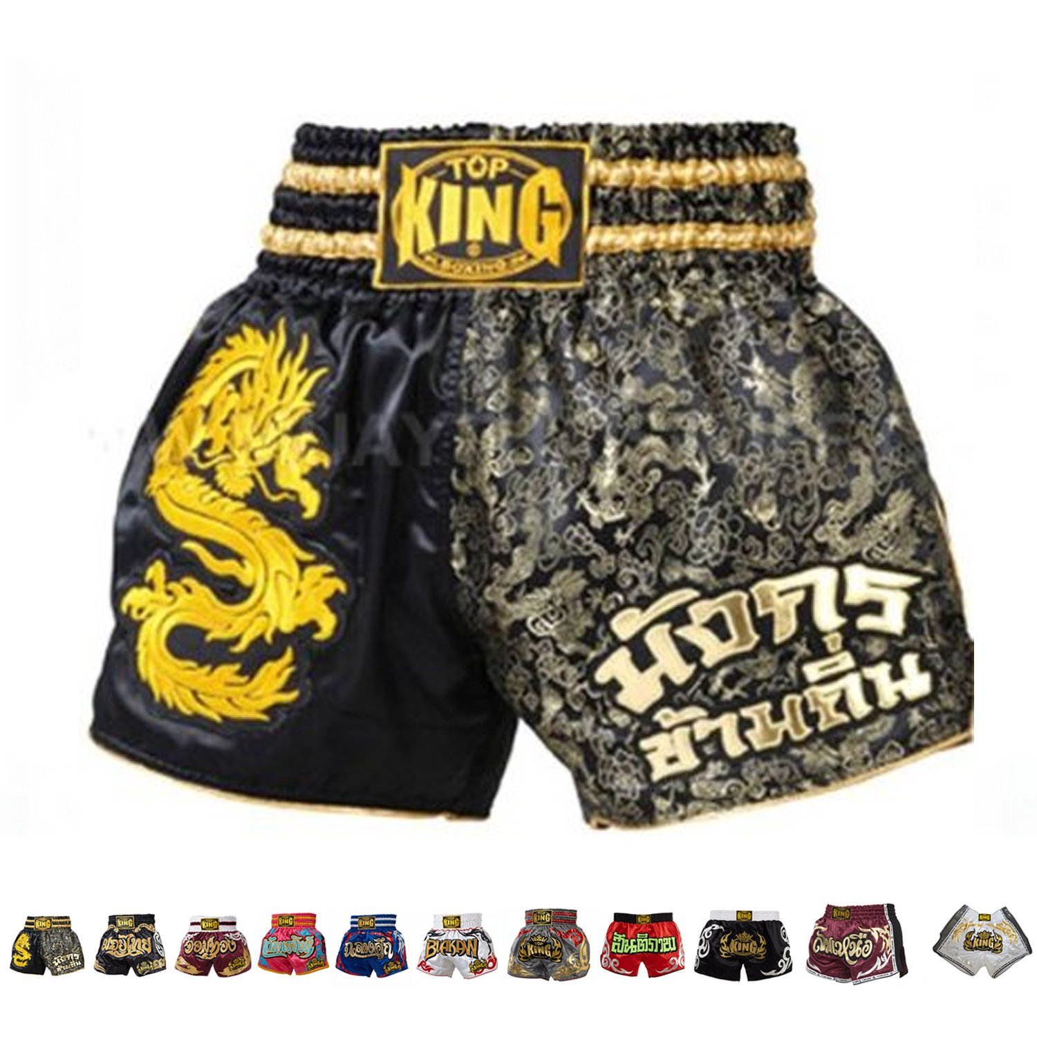 Black gold Dragon Small Top King Boxing Muay Thai Shorts Normal or Retro Style Size S, M, L, XL, 3L, 4L