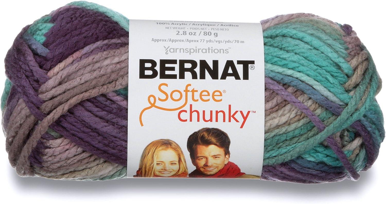 Bernat Softee Chunky Ombre Yarn, 2.5 oz, Gauge 5 Bulky Chunky, 100% Acrylic, Shadow