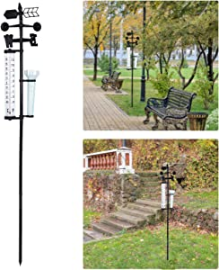 Outdoor Garden Decoration Weather Vane with Thermometer and Rain Gauge, Wind Direction Temperature Rainfall 3-in-1 Weather Measuring Instrument, Wind Weather Meteorological Measurer Vane Tools