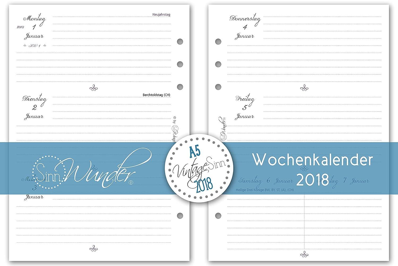 SinnWunder Kalendereinlagen 2018, A5, verschiedene Designs ...
